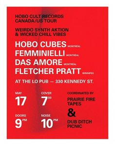 Hobo-Cult-Tour-Poster-web.jpg (657×850) #univers #red #brutalism #minimalism #peters #poster #cole