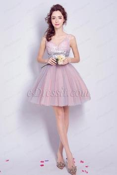 eDressit Sparkly Pink Sequins V Cut Short Cocktail Dresses (35198801)