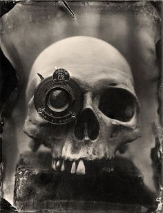 Wet Plate Collodion Photography Print Skull with lens eye
