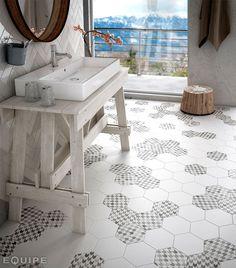Hexagonal Floor Tiles by Equipe Ceramica - floor porcelain tile white bathroom