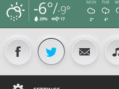 Weather and buttons #twitter #interface #ui #buttons