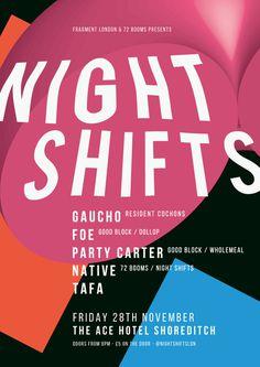 Night Shifts #pills #a3 #red #white #shifts #london #dots #james #night #ace #poster #blocks #music #hotel #kirkup #club