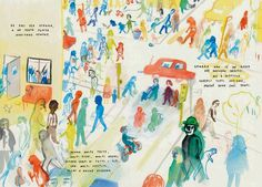 Topipittori: Un libro affollato #illustration #crowd #watercolour #street
