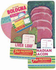 4pcs RETRO DELI LABELS Liver Loaf Thuringer Bacon Bologna Authentic Set A #packaging