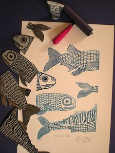 Fish stamps! #illustration #fish #stamps