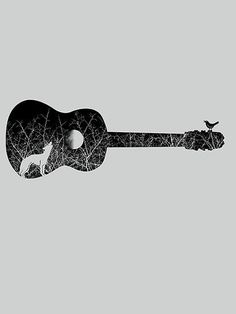 Night sounds #guitar #sounds #night #illustration #art #animals #music