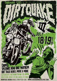 Dirtquake 3 poster for Sideburn magazine #illustration #design #poster #motorcycle