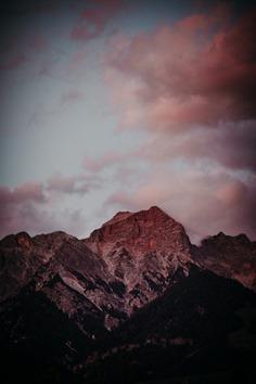 Sundown on mountains in Austria