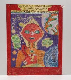 Prophet Royal Robertson Folk Art Drawing Outer Space Alien image 0