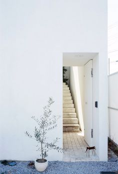 Recessed entrance opens to stairs. Love House by Takeshi Hosaka architects. © Masao Nishikawa. #entrance #staircase