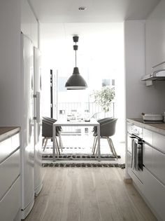 myidealhome:floor love (via emmas) #interior #white #clean #floor #kitchen #minimal #grey