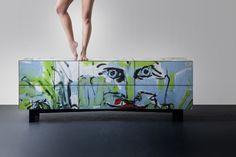 Cabinet, graffiti, furniture, modern, street, interior