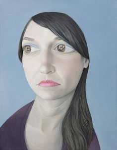 Paintings by Travis Collinson #exaggerated #blue #sad #woman