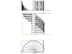 Cad drawing of a spiral staircase from several angles. #diagram #stairs #drawing