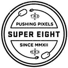 Super eight badges v2 #vector #super #eight #vintage #badges #pencil