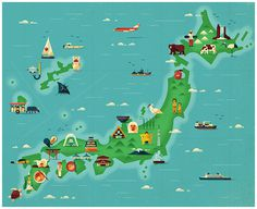 Japan map illustrations for Monocle Magazine #design #map #illustration #magazine #japan #icons #monocle