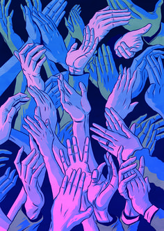 WIRETAP.XXX #illustration #painting #hands #fingers #crowd #touch #applause