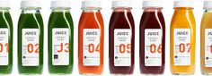 JUICE Served Here — The Dieline #packaging #system #juice #bottle #glass #typography