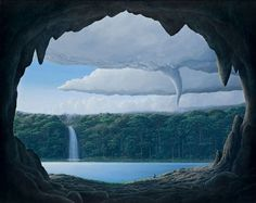 Tomás Sánchez - BOOOOOOOM! - CREATE * INSPIRE * COMMUNITY * ART * DESIGN * MUSIC * FILM * PHOTO * PROJECTS #tornado #cave #lagoon #paradise #landscape #illustration #painting #waterfall