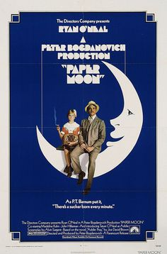 Extra Large Movie Poster Image for Paper Moon #movie #ryan #typography #70s #retro #paramount #cinema #oneal #poster #studio #vintage #blue #1970s #paper #moon
