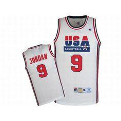 Michael Jordan 9# White USA Basketball Jersey Red Blue Number #fashion