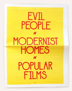 Image of Evil People in Modernist Homes in Popular Films #newsprint #print #publication #cover #layout #editorial