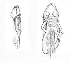 concept sketch of the garment design inspired by Zaha Hadid's Heydar Aliyev Cultural Center in Baku, Azerbaijan #hadid #cape #zaha #msr #fashion #hood #garment #sketch