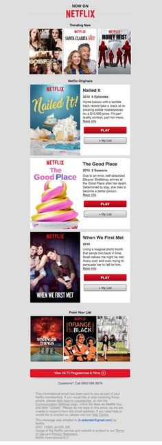 Netflix email newsletter example
