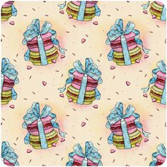 holiday patterns on Behance #cake #present #illustration #pattern