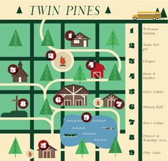 Twin Pines Map Noah Mooney Design #map #lake #camp