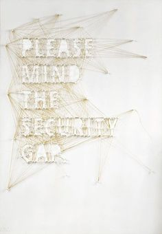 typography, security gap, pin, thread, golden, please mind the security gap, illustration, data security