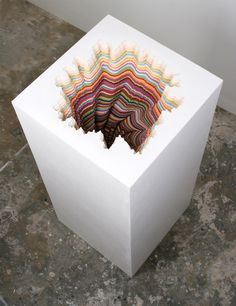 Hand cut paper and wood sculptures by Jen Stark #sculpture #art #contemporary