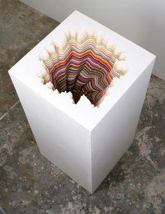 Hand cut paper and wood sculptures by Jen Stark #sculpture #contemporary art