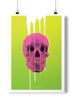 Poster Project #ooze #pink #print #poster #skull #drip #green
