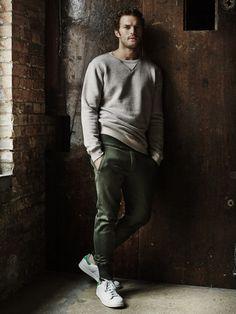 Jamie Dornan for Observer Magazine, styled by Helen Seamons. #jamiedornan #sportwear #male #bearded