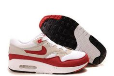 Nike Air Max 1 White Sport Red Neutral Grey Black Mens Shoes
