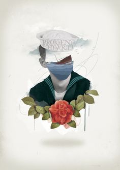 Nazario Graziano / Broken Hearts #sailor #rose #illustration #sea #vintage #collage