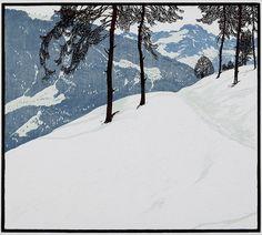 Josef Stoitzner: Â Aus den Tauern, c. 1915.... #painting #illustration #winter #landscape #mountain #trees #composition