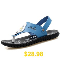 Waterproof #Microfiber #Leather #Sandals #for #Men #- #BLUE