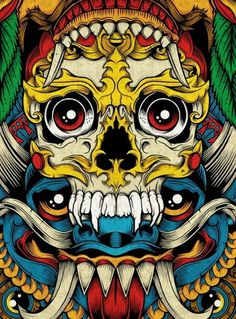 0adcdcafe4679323480b5e27dc75892a.jpg (JPEG Image, 600x813 pixels) #color #illustration #symmetry #skull #symmetric