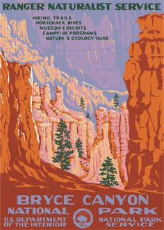 Bryce Canyon National Park #adventure #travel #bryce #canyon #park #utah #wpa #poster #parks #national #desert