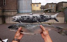 phlegm salmon 698x435 #submarine #fish #mural