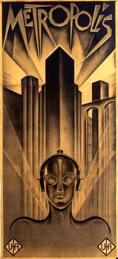 Metropolis (1927) Movie Poster #film #fritz #robot #metropolis #deco #lang