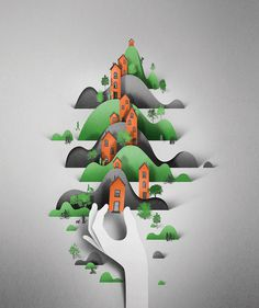 Digital Papercut Illustrations by Eiko Ojala paper illustration digital #illustration #paper #poster
