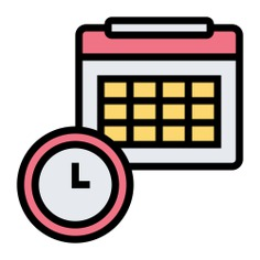 See more icon inspiration related to calendar, clock, time, date, time and date, planning, delivery, calendars and dates on Flaticon.