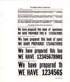 Franklin Gothic Condensed type specimen #type #specimen
