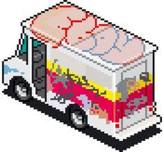 PT Truck Grafitti Small 01k #graffiti #pixel #eboy #illustration #art