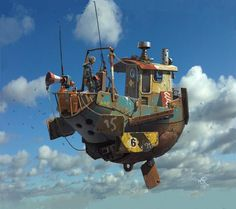 Concept Art by Ian McQue #clouds #fantasy #sky #fi #sci #warship #illustration #concept #vintage #art