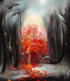 Artist painter Michael Page #surreal #fire #painting