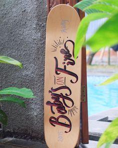 Baby's On Fire. Enamel on skate deck. #kallos #typography #handlettering #lettering #skateboard